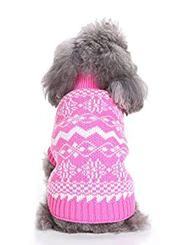 Weant Christmas Fashion Comfortable Pet Clothes Festival Dress Sweater Knitwear (M, Pink) 4