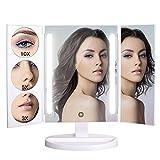 BESTOPE Ultra Großer Schminkspiegel mit 26 Lichtern 1X / 3X / 5X / 10X Vergrößerung 360°Schwenkerdrehung Natürlich Kosmetikspiegel Beleuchtet Tischspiegel Elegant Eitelkeitspiegel Touchscreen