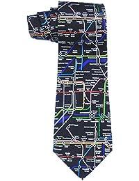Männer 100% Seide schwarz London U-Bahn-Zug Neuheit Krawatte(Black Underground tie)