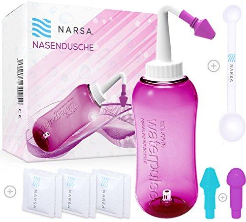NARSA Nasendusche + Dosierlöffel + 3 Aufsätze / Schnupfen / Allergie / Trockener Nase ( Aufsätze für Kinder + Erwachsene) pink Nasenspülkanne / Nasenreinigung / Nasenreiniger / Nasenspülset / Nasenspülung bei Erkältung
