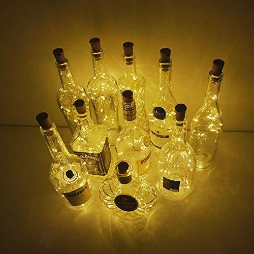 10 Stück LED Batteriebetriebenes Licht 2M 20 LEDs Weinflasche Kork Stimmungslichter Mikro Kupferdraht Sternlicht für Flasche DIY, Weihnachten, Party, Haus Dekor, Hochzeit (Warmweiß)