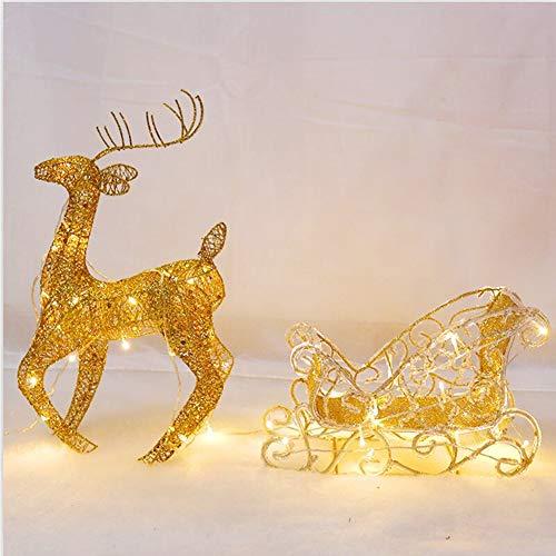 YANXS Funkeln LED Beleuchtet Rentier mit Schlitten Warm Weiß Weihnachten Deko für Innen Außen Metall Eisen Rahmen 28x50cm,Gold