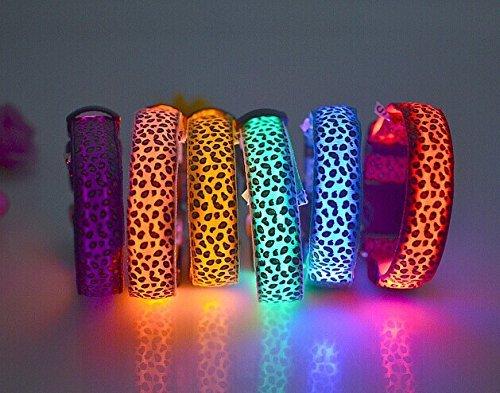 photovie wiederaufladbar Night LED-Beleuchtung Leopard Muster und langlebigem Nylon Kragen für die meisten Größe Hunde Blau