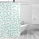 COOSUN Grüner Polk Punkte Drucke Duschvorhang, Polyester-Gewebe Duschvorhang, 66 x 72-inch 66x72 Mehrfarbig