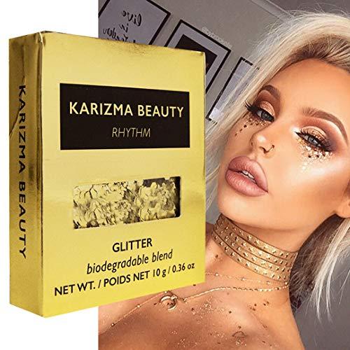 Biologisch Abbaubarer Klobiger Glitzer in Rhythmus // Karizma Beauty Gold Gesicht glitzern Bio-Glitter Eco Glitter Festival 8g