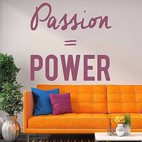 Leidenschaft Macht Wandaufkleber Inspirierend Zitat Wandtattoo Motivation Dekor verfügbar in 5 Größen und 25 Farben Groß Licht Orange