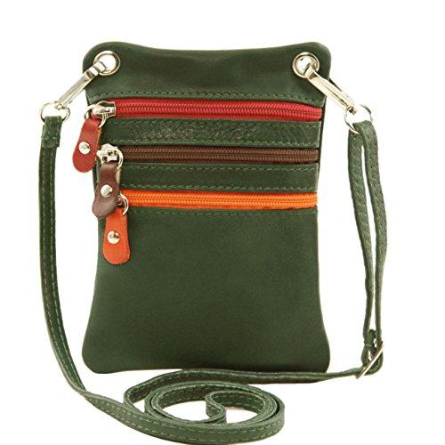 Tuscany Leather TL Bag - Tracollina in pelle morbida Rosso Borse uomo in pelle Verde scuro