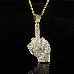 Idea Regalo - HOX Piena di Diamante Verticale Medio Dito Grande Ciondolo Uomini Accessori Lucido Industria Pesante Marca Marea Collana Oro