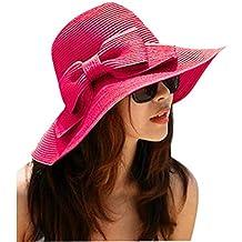La Haute Sombrero de paja, de ala ancha, para mujer, plegable, con lazo, para la playa y el sol, niña mujer, Rosa roja, talla única