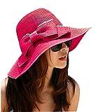La haute Chapeau de soleil Large Bord pliable Motif de nœud papillon Femme Chapeau Pare-soleil en Paille de plage. Taille unique rose rouge