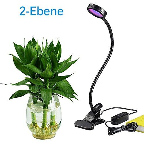 Schreibtisch-lampe 2 Röhren (LED Grow Pflanzenlampe für Zimmerpflanzen 5w einstellbar 3 Modi & 2-Ebene dimmbare Clip Schreibtischlampe mit 360 ° flexibler Schwanenhals Gewächshaus Pflanzenlicht Grow Licht Pflanzen Lampen)