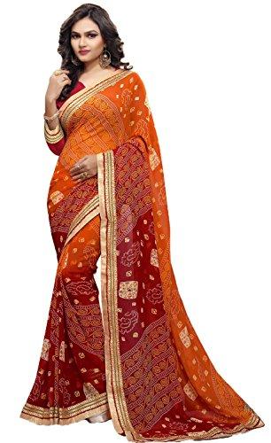 Sarika Women's Georgette Rajasthani Bandhani Saree With Blouse (SS6-26005_Orange And Red)