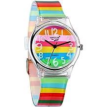 Avaner Reloj de Niña Mujer Reloj Analogico de Colores Arco Iris, Rainbow Reloj Transparente Correa de Silicona Para Chicas, Buen Regalo de Navidad