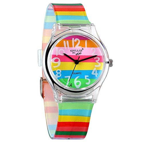 Avaner Reloj de Niña Mujer Reloj Analogico de Colores Arco Iris, Rainbow Reloj Transparente Correa...