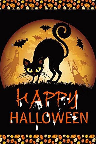 ween schwarze Katze doppelseitig House Flagge 71,1x 101,6cm, Textil, schwarz, Large-28