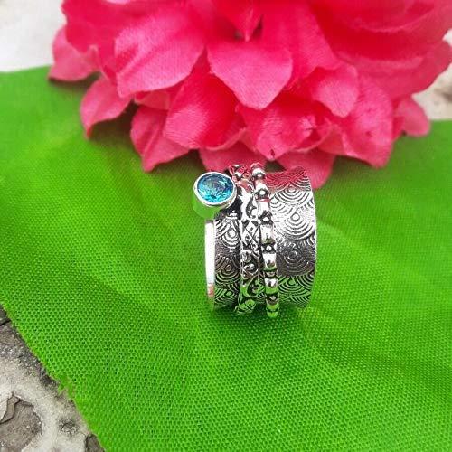 925 Sterling Silber Blue Topaz Spinner Ring, Damen Designer Ring, Meditation, Vintage, Antik Geschenk für ihren Ring