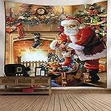 Weihnachtsteppich-Wandkunst Weihnachtsmann-Musterausgangsdekoration/Schlafzimmer / Wohnzimmer/Schlafsaaldekoration 130x150cm, Ofen