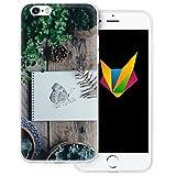 dessana Frühling transparente Silikon TPU Schutzhülle 0,7mm dünne Handy Soft Case für Apple iPhone 6/6S Schmetterling Garten