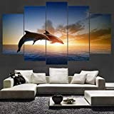 Geiqianjiumai Leinwandbild HD-Druck Ölgemälde fünf Couplets Sonnenuntergang Delphin Wandbild Tiermalerei