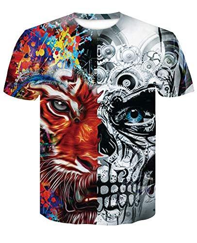 XIAOBAOZITXU T-Shirt Mode Große Größe Männer Und Frauen Unisex-Paar-Kostüm Tiger Totenkopf Rot Schmal Geschnitten Cooles Lustiges Sommersport-T-Shirt XL