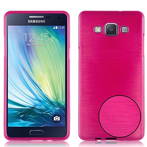 Preisvergleich Produktbild Cadorabo Hülle für Samsung Galaxy A5 2015 (5) - Hülle in PINK – Handyhülle aus TPU Silikon in gebürsteter Edelstahloptik (Brushed) Silikonhülle Schutzhülle Soft Back Cover Case Bumper