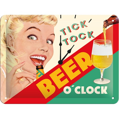 Nostalgic-Art 26213 Say it 50's - Beer O' Clock Lady, Blechschild 15x20 cm