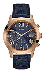 Guess W0669G2,Men Chronograph,Rose Tone,Brown Dial,Stainless Steel,Leather Strap,Date,100m WR