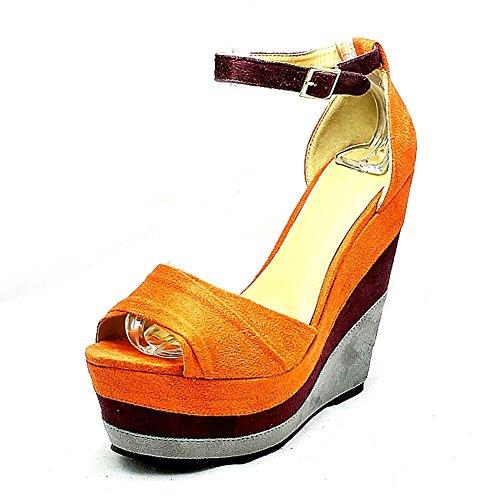 Donne a strati zeppa scarpe piattaforma Orange