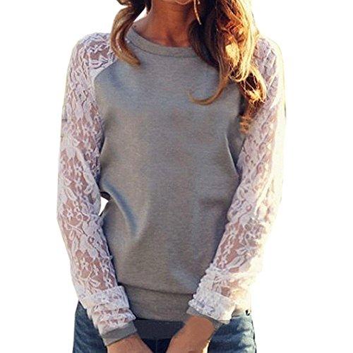 Frauen Sweatshirt Hemden Freizeit Mode Reizvolle Lange Ärmel Rundhals T-shirt Spitze Spleißen Oberteile pulli