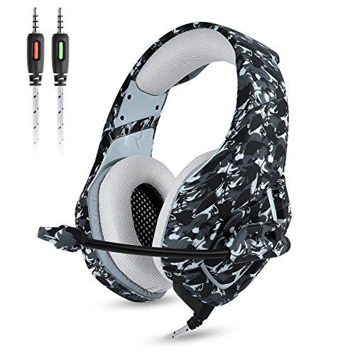 Happyroom Gaming Headset - ONIKUMA für PS4 Neue Xbox one PC Mac, Über Ohr 3,5mm Kopfhörer mit Mic Geräuschisolation Deep Bass Surround für Spiel (Gray, K1-B)