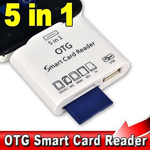 Twogood OTG Card Reader 5 in 1 Micro USB Adapter Supports MS/SD (HC)/MMC/TF/M2 Memory Cards for Redmi Note 4, Moto G5s