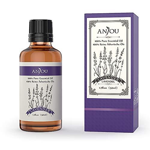Anjou Ätherisches Öl Lavendel, 100% Reines Aromatherapie Ätherisches Öl für Diffuser, Luftbefeuchter, Massage, Spa, Haut & Haar Pflege, 50 ml