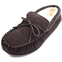 suede slippers with wool lining and sole.