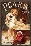 Pears Soap Bathtime! Kinder mit Hund und badewanne Nostalgie reklame Metal Sign deko Sign Garten Blech
