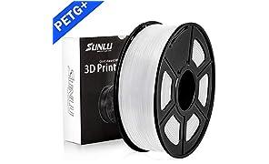 SUNLU PETG 3D Filament 1.75mm 1KG (2.2lb), PETG 3D Drucker Filament, Maßgenauigkeit +/- 0.02 mm, 1 kg Spule, 1.75 mm, Weiß PETG
