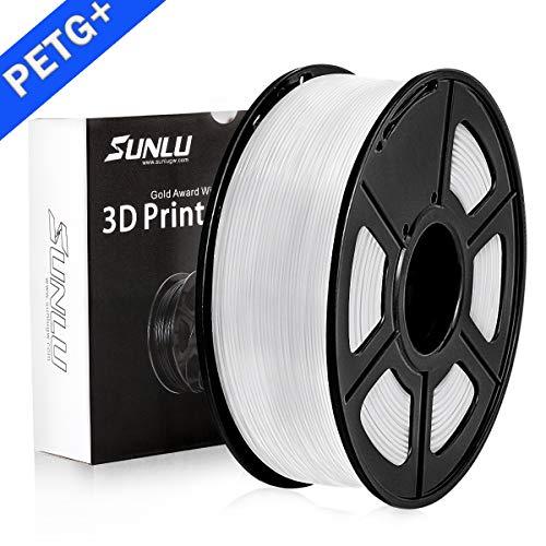 SUNLU PETG Filamento 3D 1.75mm 1KG (2.2lb), Filamento de impresora PETG 3D, Precisión dimensional +/- 0.02 mm, 1 kg Carrete, 1.75 mm, PETG blanco