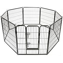 TRESKO® Parc enclos pour Chiens Métal pour Chiots Animaux Grillage Rongeur Petit avec Porte 8 Panneaux