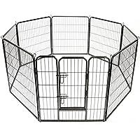 TRESKO® Welpenlaufstall Freilaufgehege Welpenauslauf Hundelaufstall Tierlaufstall Hunde, mit Tür und wetterfester Hammerschlag-Lackierung