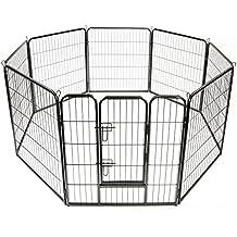 TRESKO® Valla para perros, corralito, parque de cachorros, corral para mascotas, para el exterior, el jardín y el apartamento, valla de animales perros reja para mascotas, valla portátil, para gatos y otras mascotas, conejera, negro, con puerta, perímetro 640 cm, altura 80 cm, construcción robusta de metal
