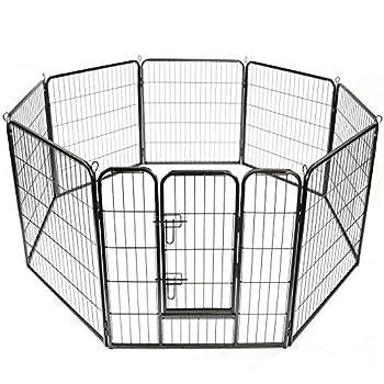 TRESKO® Parc enclos pour chiot, Vaste enclos, Parc à chien, utilisable en dehors, au jardin ou dans la maison, pour Chiens Chiots Animaux de compagnie, Clôture mobile pour chats et d'autres animaux de compagnie, Clapier, noir, porte inclus, périmètre de 640 cm, hauteur 80 cm, construction robuste en métal