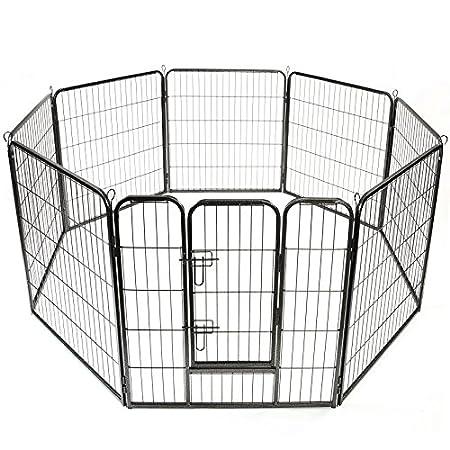 TRESKO® Welpenlaufstall 80x80cm Freilaufgehege Welpenauslauf Hundelaufstall Tierlaufstall Hunde, mit Tür und…