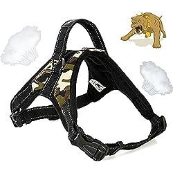 Alimao® Arnés para perros de trabajo pesado, Prevención de tirones, paño de Oxford material de rejilla con diseño especial de correa corta integrada, Collar de trabajo para perros pequeños y perros grandes - (L)