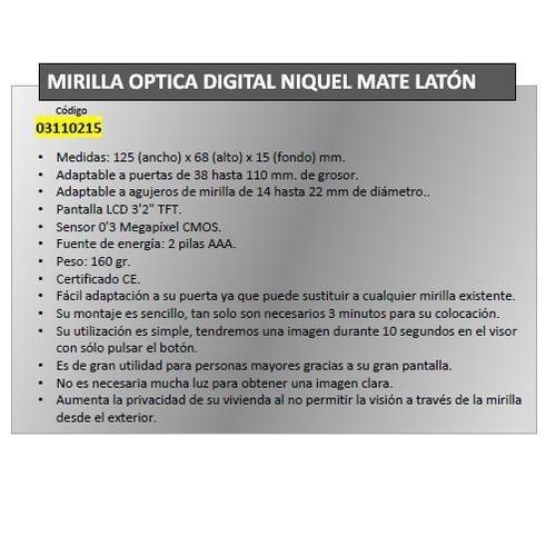 Maurer 3110215 Mirilla Puerta Digital Oro