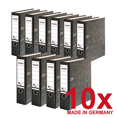 Falken Das Original 10er Pack Recycling-Ordner Wolkenmarmor 8 cm breit DIN A4 schwarzer Rücken Ringordner Aktenordner Briefordner Büroordner Pappordner Made in Germany Blauer Engel