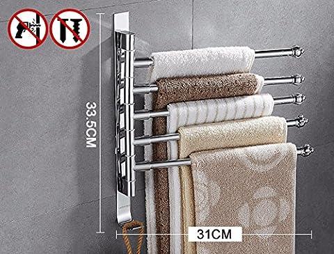 Das Badezimmer Regal keine Stanzen, Drehen die Handtuchhalter Edelstahl Handtuchhalter, Handtücher, Wand halterungen, 5 (Edelstahl-wandhalterung Sink)