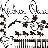 GRAZDesign 770079_57_080 Wandtattoo Küchen-Oase mit Weinblätter | Küchen-Tattoo als Set für Küchen-Rückwände - Schränke - Fliesen | Wand-Aufkleber zum dekorieren (57x57cm//080 braun)