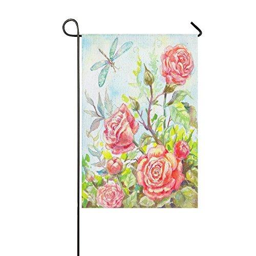 interestprint Ölgemälde Pink Rose Floral Lange Polyester Garten Flagge Banner 30,5x 45,7cm, Spring Summer Fahne Deko Libelle für Hochzeitstag/für Home Outdoor Garden Decor -
