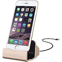 Eximtrade Cargador Dock Soporte para Apple iPhone 5/5s/6/6s/6 plus/6s Plus/7/7 Plus, iPod (Oro)