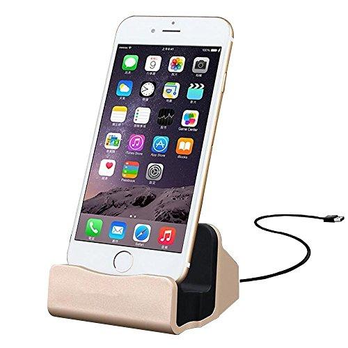 Eximtrade Ladegerät Dock Handy Halterung für Apple iPhone 5/5s/6/6s/6 plus/6s Plus/7/7 Plus, iPod (Gold) (Iphone 6 Solar-fall)