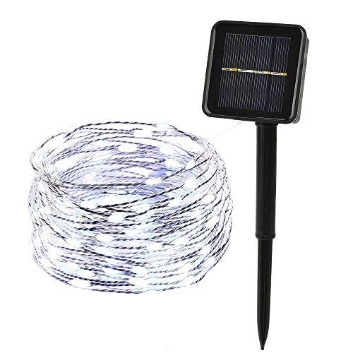 ieGeek Luz Estrellada LED Solares, 8 Tipos de Modo de Flash, para Decoración, Fiesta, Boda, Arból, Jardín, Terraza, Calle, Camino, Navidad(600ma, 100 Granos, Blanco)